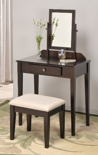ABC Contemporary Vanity Set with Adjustable Mirror and Stool Espresso Finish