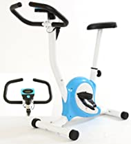 Top Gym Master Exercise Bike in Blue & White for Fitness Cardio Workout On sale-image