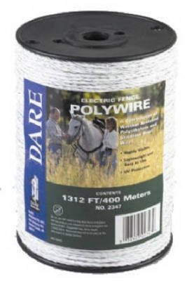 Dare Products 2347 Electric Fence Wire, White Poly & 3-Wire Stainless Steel, 1,312-Ft. Spool - Quantity 6