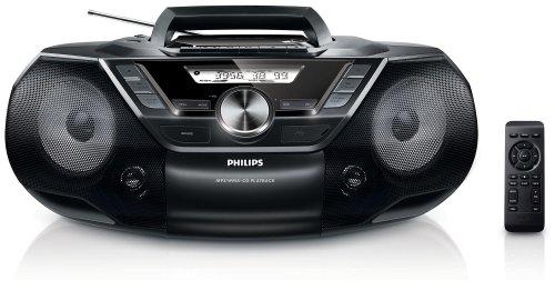 Philips AZ787/12 CD-Radiorekorder (Digitaler Tuner, USB Direct, Dynamic Bass Boost, Sleep-Timer, Cassetten-Deck) schwarz