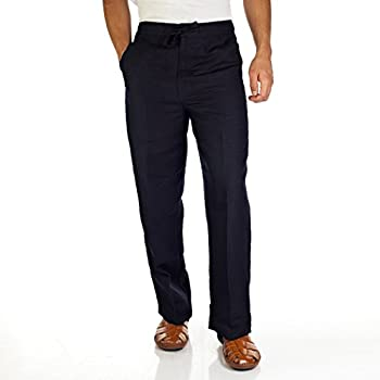 Linen blend drawstring pants for men by cubavera