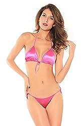 Shopolica - Satin Halter Bikini Honeymoon /Bridal /Beach Wear /Sleepwear Lingerie Set , Size- Free