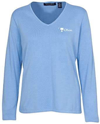 Oxford NCAA Citadel Bulldogs Ladies Carson V-Neck Sweater by Oxford