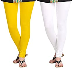 Aannie Women's Cotton Slim Fit Leggings Combo Pack of 2(X-Large,Mango,Pure White)