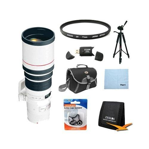 Canon Ef 400Mm F/5.6L Usm Super Telephoto Lens For Canon Slr Cameras W/ 77Mm Multicoated Uv Protective Filter, Deluxe Bag, Lens Cap Keeper, Microfiber Cleaning Cloth, Memory Card Wallet, Usb 2.0 Card Reader, Professional Tripod
