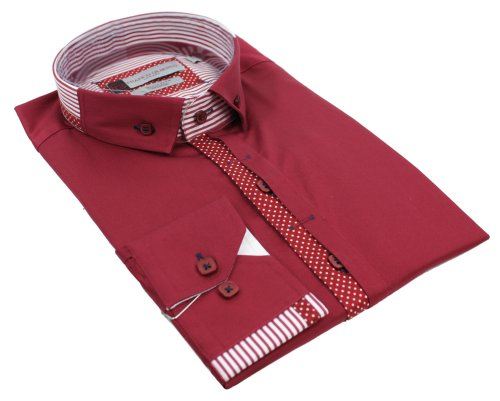 Mens Italian Button Grandad Collar Maroon Red White Trim Shirt Slim Fit Smart or Casual 100% Cotton