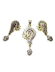 Poddar Jewels Cubic Zirconia Designer Pendant Set - B00S9H9VNI