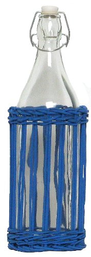 """Traders & Co. Hand Woven Marine Blue Painted Willow Basket with Glass Large Water Bottle 13""""H 36oz Set / 2 at Sears.com"""