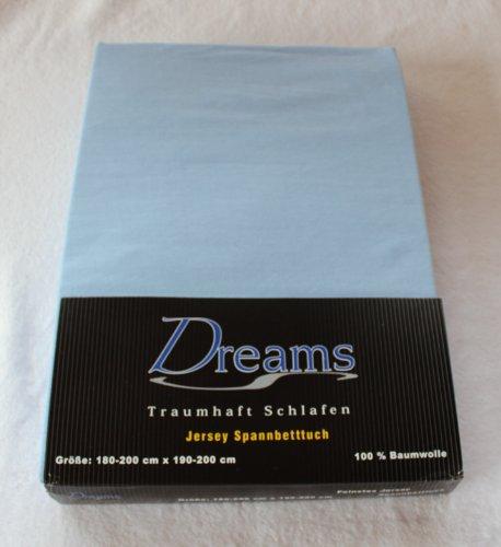 Dreams 100% Baumwolle Jersey Spannbettlaken Farbe Hellblau blau Größe 180 x 200 bis 200 x 200 cm Spannbettuch Spannlaken mit Rundumgummi