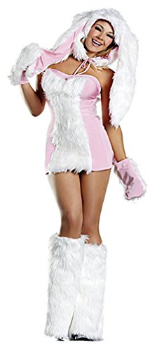 Q-Lingerie, Women's Faux Fur Dress Gloves Warmers Pink Bunny Hooded Costume CS23