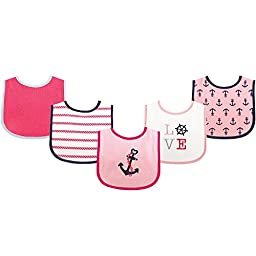 Luvable Friends Fun Prints Drooler Bibs, Girl Nautical, 5 Count