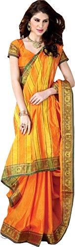 SareeStudio Classic Orange Wedding Wear Saree Zari Work Cotton Saree