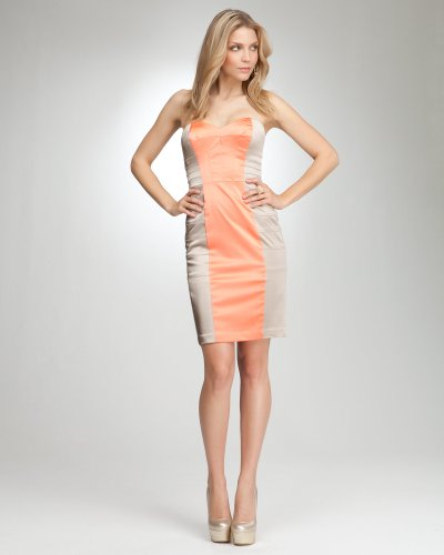 Bebe Tara Strapless Colorblock Panel Dress LIVING CORAL-CHMPGNE Size Small