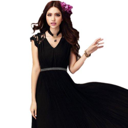 Finejo Women Bridesmaid Long Cocktail Party Vintage Chiffon Lace Maxi Dress Black