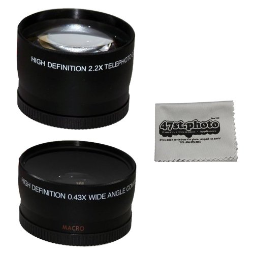 52Mm 2.2X Telephoto And 0.43X Wide Angle High Definition W/ Macro Portion Lenses For Nikon Dslr (D5200 D5100 D5000 D3200 D3100 D3000) And Microfiber Lens Cleaning Cloth