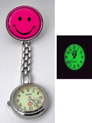 Nurses Luminous Hot Pink Smiley Fob Pocket Watch. Gift Boxed. Clip Fastening