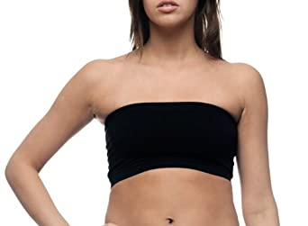 Womens Black Stretch Seamless Tube Top Bandeau Bra by Level 33