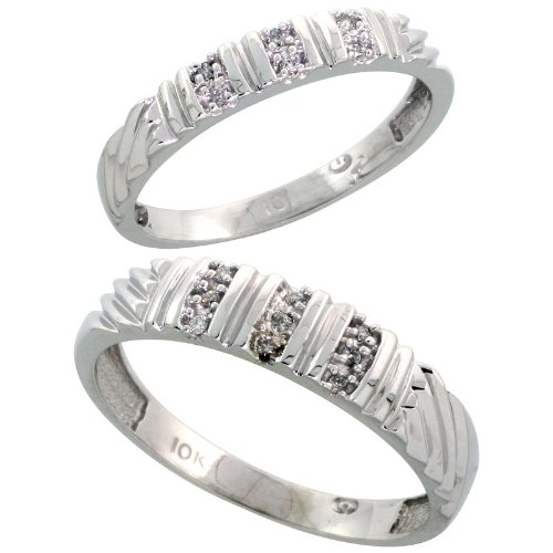10k White Gold Diamond Wedding Rings Set for him 5 mm and her 3.5 mm 2-Piece 0.08 cttw Brilliant Cut, Ladies Size 10