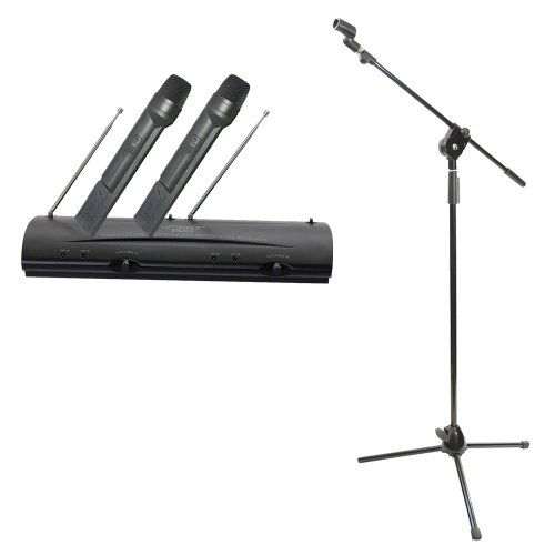 Pyle Mic And Stand Package - Pdwm2100 Professional Dual Vhf Wireless Handheld Microphone System - Pmks3 Tripod Microphone Stand W/ Extending Boom