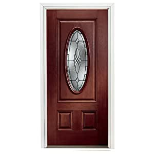 Pella 37 1 2 W 3 Panel Oval Red Magogany Fiberglass Entry Door Unit Household Doors