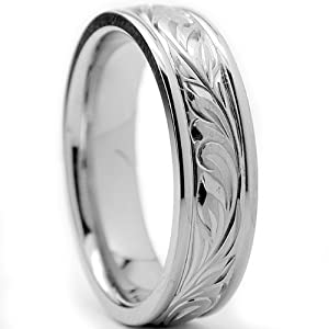 6MM Titanium Ring Wedding Band With Engraved Floral Design Size 7