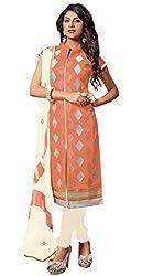 Vidhya LifeStyle Women's Chanderi Embroidery Unstitched Dress Material(Dark Peach)