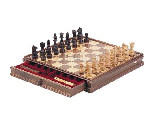 Deluxe walnut chess checker game gift set bonus storage playing board toys games games board - Deluxe chess sets ...