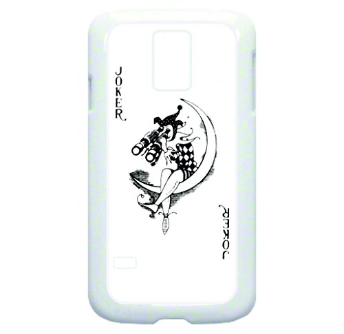 Joker Playing Card - Joker With Binoculars - Rubber Double Layer Protection White Case - Compatible With Samsung Galaxy S5 I9600