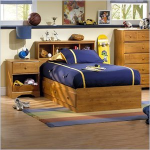 Cheap South Shore Amesbury Kids Twin Wood Captain's Bed 3 Piece Bedroom Set in Country Pine (3432080-PKG)