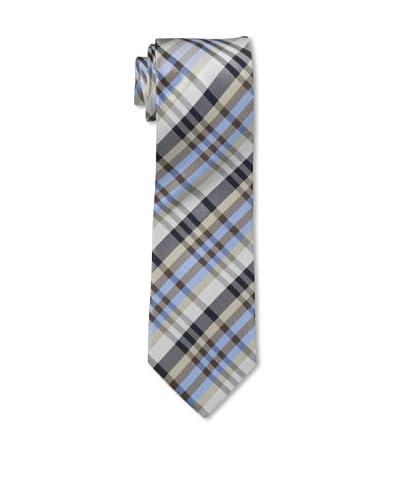 English Laundry Men's Plaid Tie, Tan/Blue