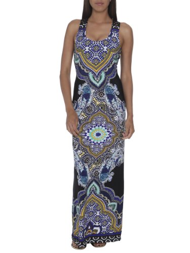 Arden B. Women's Moroccan Lattice Maxi Dress XS Blk/blue