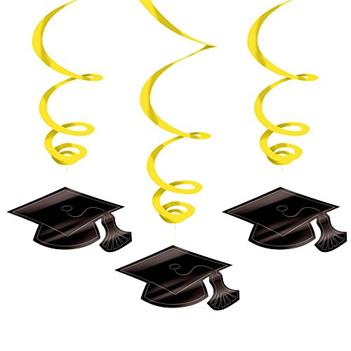 Yellow Graduation Hanging Swirl Decoration Mega Value Pack