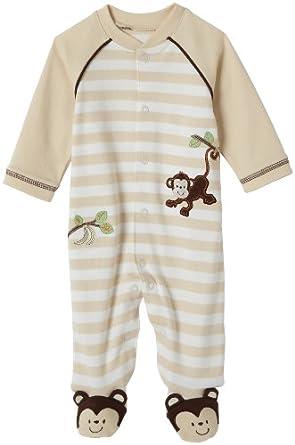 Little Me Layette Footie, Monkey Stripe, Ivory, 3 Months