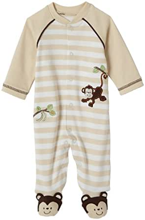 Little Me Layette Footie, Monkey Stripe, Ivory, 3 Months