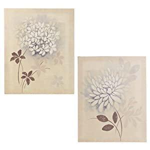 Set Of Two Floral Flower Art Painting Canvas