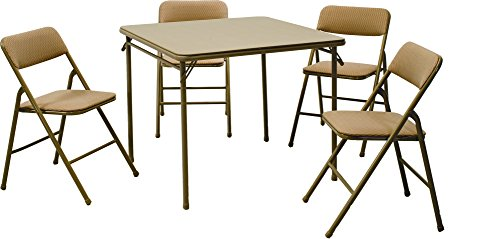 Cosco Products 5-Piece Folding Table and Chair Set, Tan (Padded Folding Table compare prices)