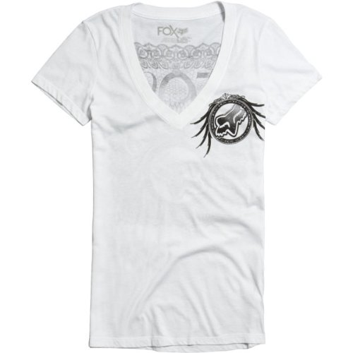 Fox Racing Seal the Deal Vneck Girls Short-Sleeve Sports Wear Shirt - Color: White, Size: Large