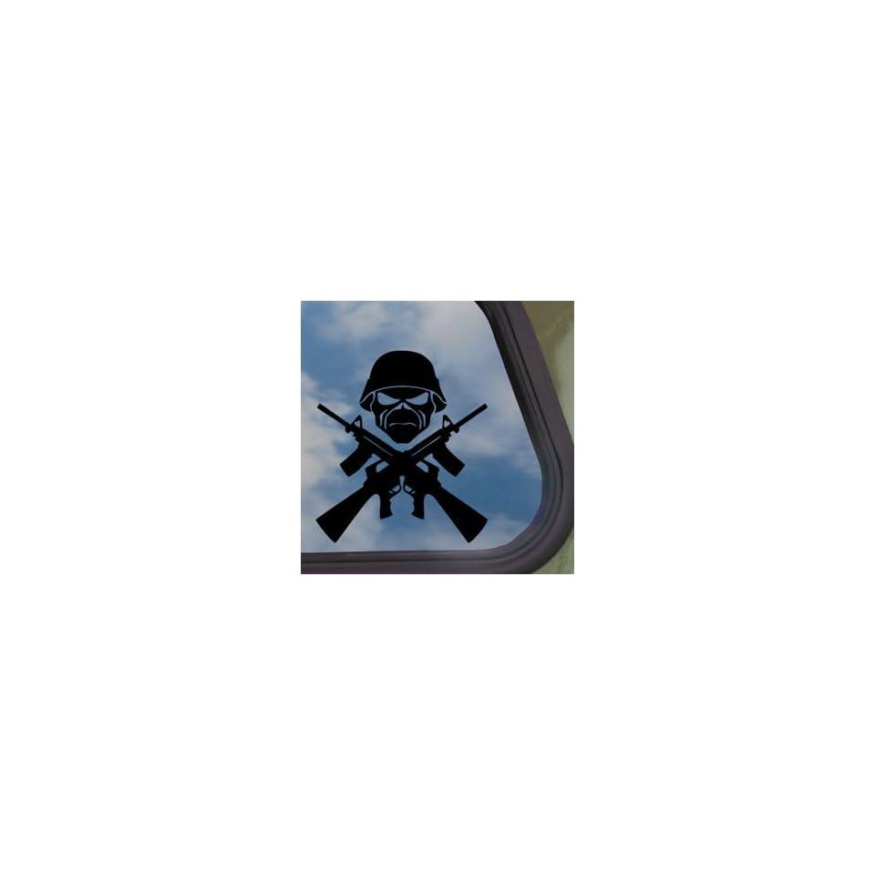 Eddie Machine Guns Iron Maiden Black Decal Band Car Sticker
