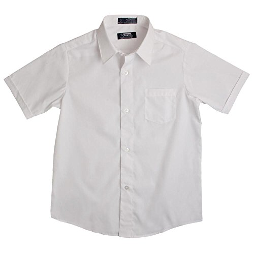 French Toast Short Sleeve Dress Shirt With Expandable Collar Boys White 10 Husky
