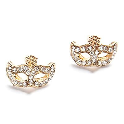Stunning Super Junior Opera Cat Girl Mask Crystal Earrings Jewelry (Golden) From U-Beauty