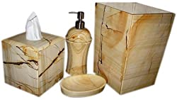 Teakwood Marble Bathroom Accessory Set 4 Pcs Unbeatable Super Sale!!