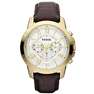 Fossil FS4767 44mm Gold Tone Case Brown Calfskin Acrylic Men's Watch