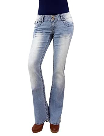 Angels Junior's Two Button Basic Medium Wash Boot Cut Jeans, 17 Blue