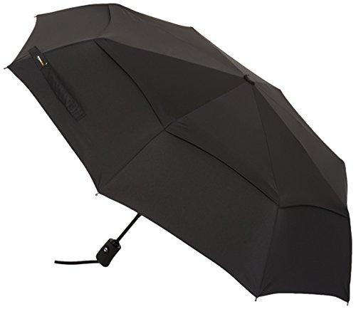 AmazonBasics - Ombrello automatico da viaggio con antivento, colore: nero