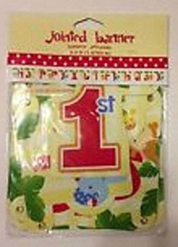 Happy 1st Birthday Jointed Banner - Yellow & Red - Jungle Themed - 1