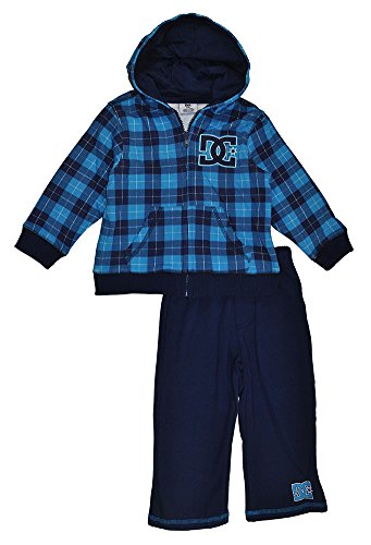 Dc Shoes Baby Boys Teal Plaid Hoodie 2Pc Sweat Pant Set (12M) front-896867