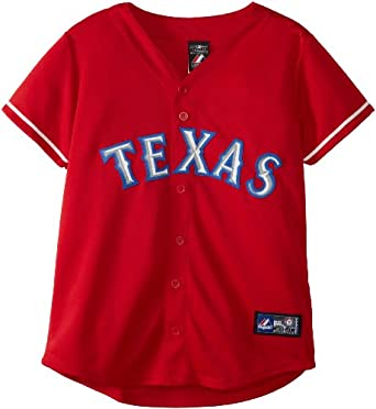 MLB Texas Rangers Scarlet Alternate Short Sleeve 5 Button Synthetic Replica Baseball... by Majestic