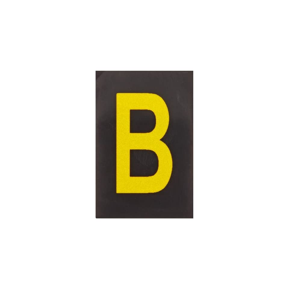Brady 5905 B Bradylite 1 1/2 Height, 1 Width, B 997 Engineering Grade Bradylite Reflective Sheeting, Yellow On Black Reflective Letter, Legend B (Pack Of 25)