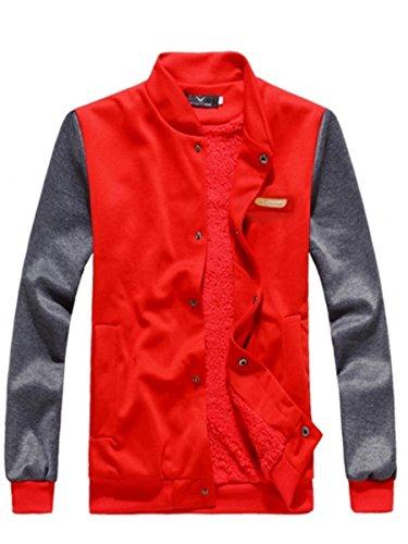 Easy Red Men Hip Hop Cool Sport Slim Fit Baseball Jacket Long Sleeve Sweatshirt