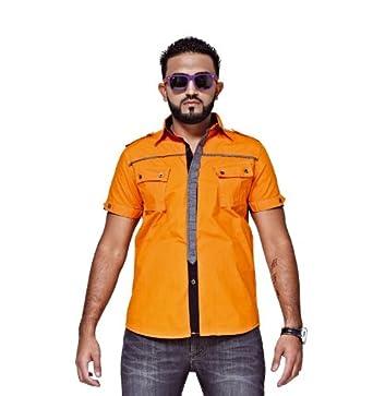 Mfaz - Chemise Unie - Couleur : Orange - Taille : M
